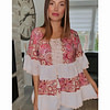 BLOUSE IMPRIMEE ET BRODERIE ANGLAISE