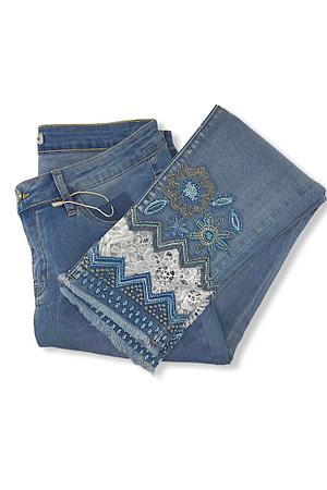 jeans spécial brodé+dentelle