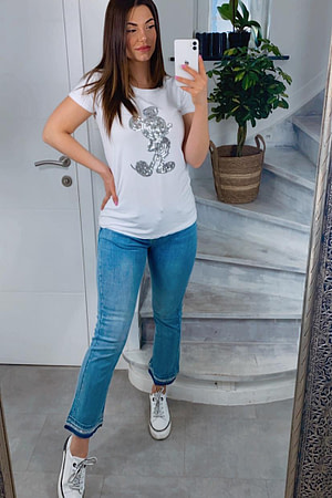 JEANS LARGE BAS +STRASS