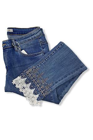 jeans 3/4 brodé+dentelle cheville